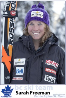 Good luck Sarah Freeman in ski world cup debut at Lake Louise this weekend
